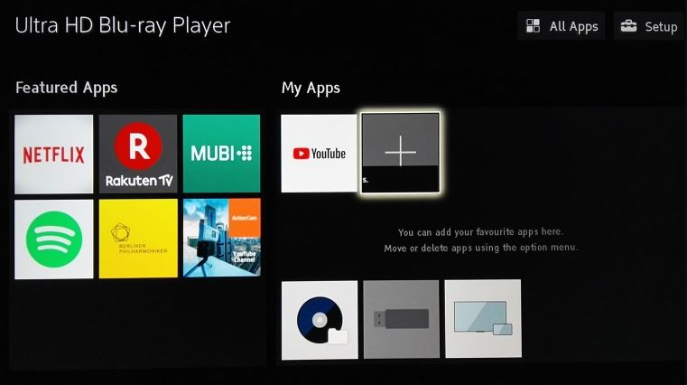 Sony UBP X700 Streaming Apps